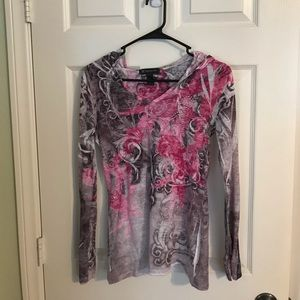 Pullover with Breast Cancer symbol embellishments